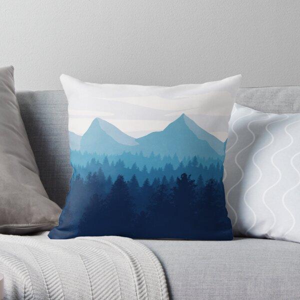 Minimal Mountain Landscape Throw Pillow
