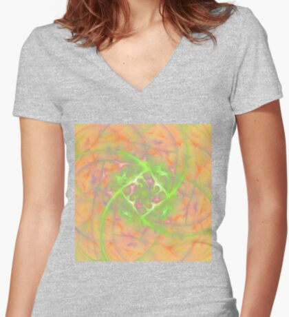 At the beginning of the rotation #fractal art 2 Fitted V-Neck T-Shirt