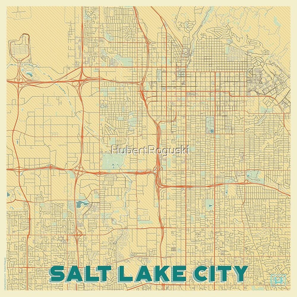 Salt Lake City Map Retro by HubertRoguski