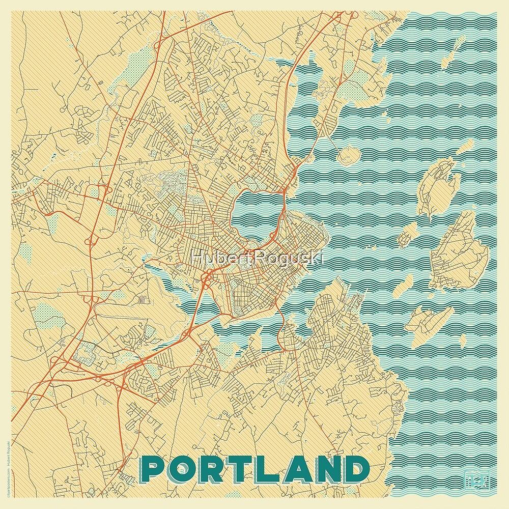 Portland Map Retro by HubertRoguski