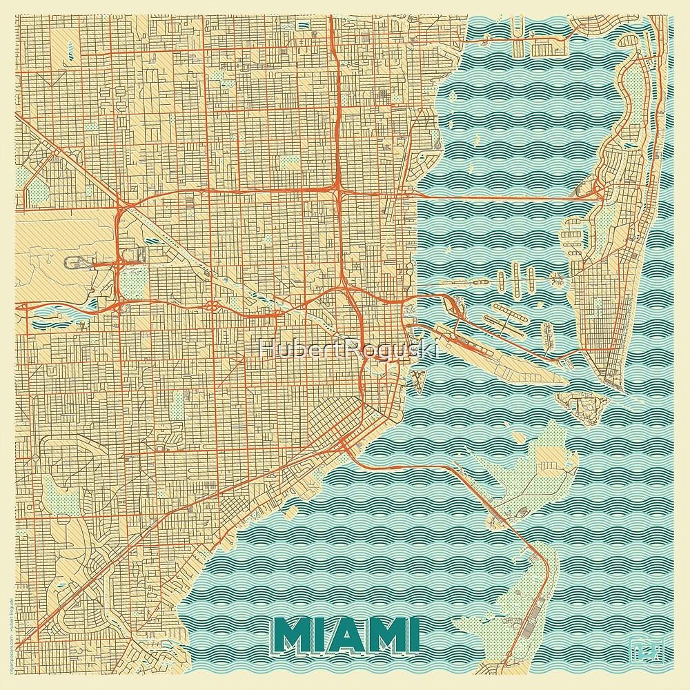 Miami Map Retro by HubertRoguski
