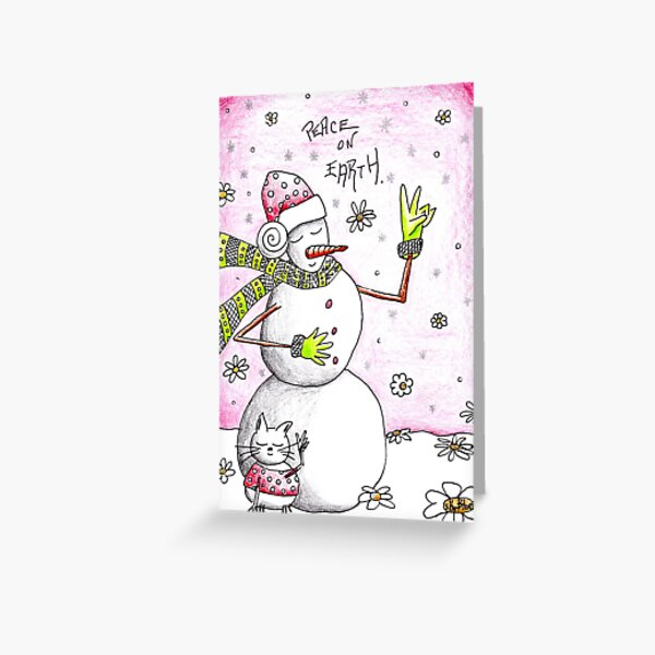 Peace on Earth - Snowman Art Holiday Greetings Greeting Card