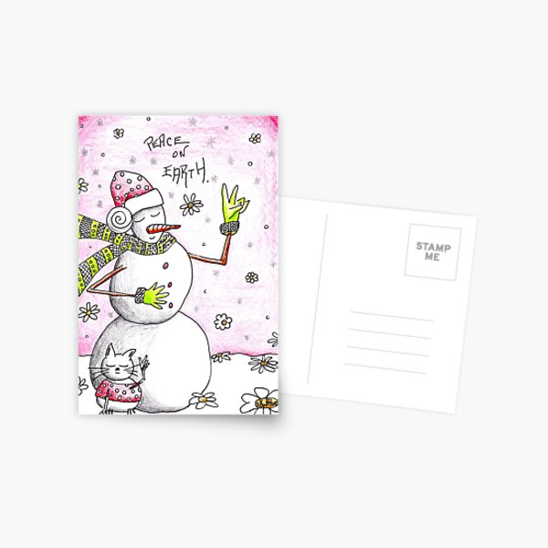 Peace on Earth - Snowman Art Holiday Greetings Postcard