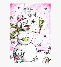 Peace on Earth - Snowman Art Holiday Greetings Photographic Print
