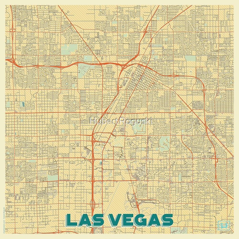 Las Vegas Map Retro by HubertRoguski