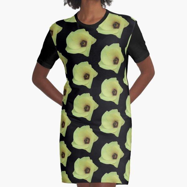 Okra Flower Graphic T-Shirt Dress