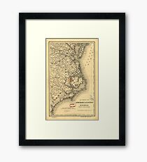 Vintage Map of The North Carolina Coast (1887) Framed Print
