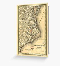 Vintage Map of The North Carolina Coast (1887) Greeting Card