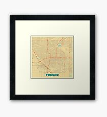 Fresno Map Retro Framed Print
