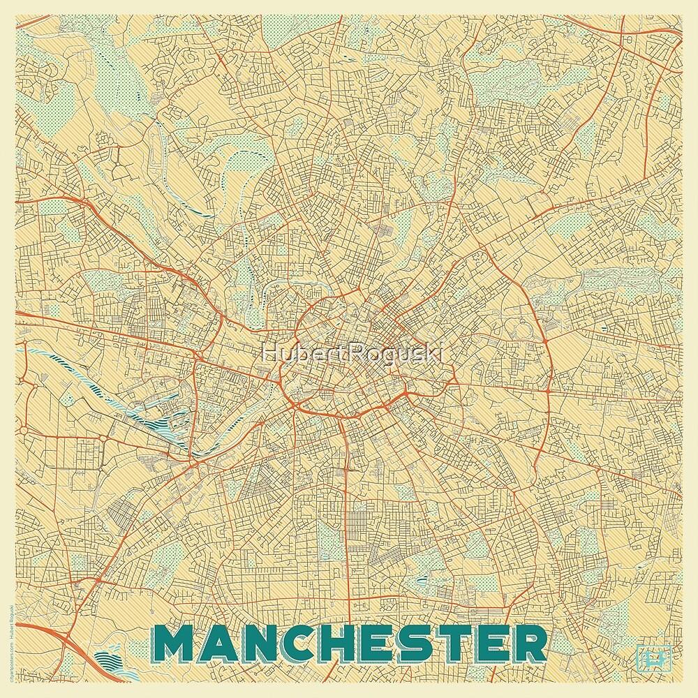 Manchester Map Retro by HubertRoguski
