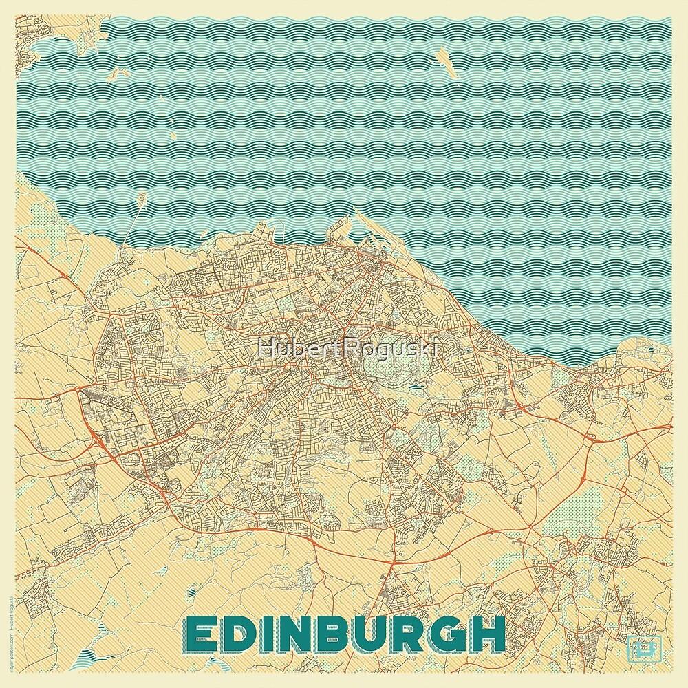 Edinburgh Map Retro by HubertRoguski