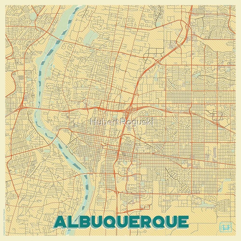 Albuquerque Map Retro by HubertRoguski