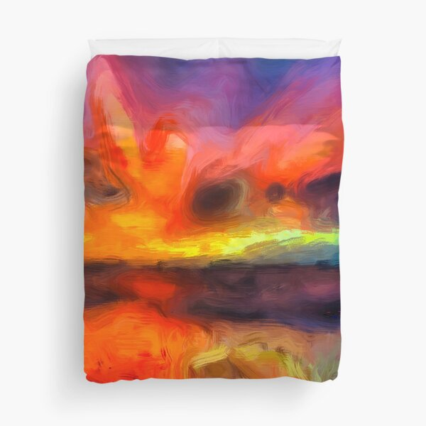 Bali Beach - Abstract Ocean Sunset Painting  Duvet Cover