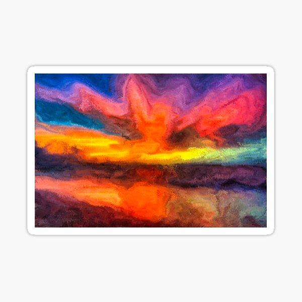 Abstract Ocean Sunset Painting Sticker