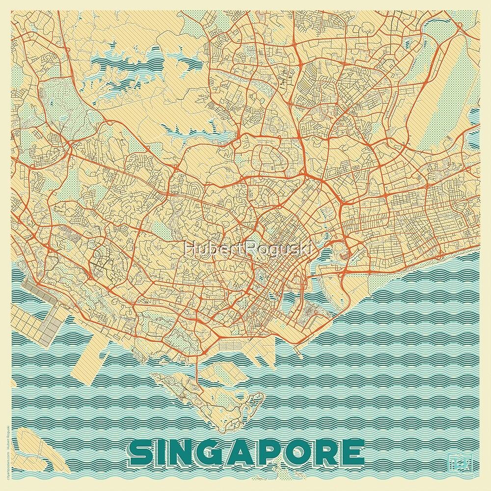 Singapore Map Retro by HubertRoguski