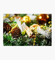 Christmas background with bright decoration Photographic Print