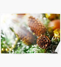 Christmas background with bright decoration Poster