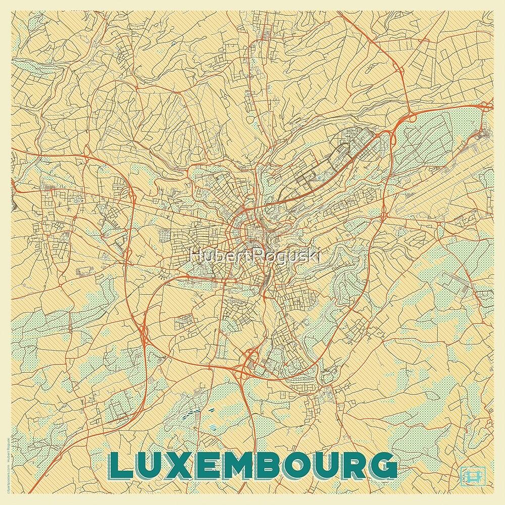 Luxembourg Map Retro by HubertRoguski