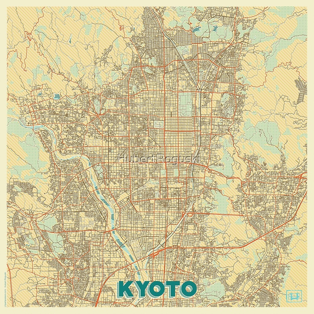 Kyoto Map Retro by HubertRoguski