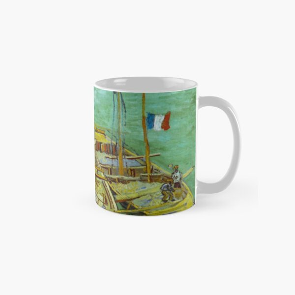 Barges on the Rhone River, 1888 by Vincent Van Gogh (Remastered) Boats loading in a river with france flag Classic Mug