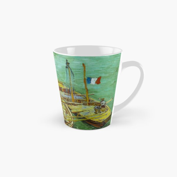 Barges on the Rhone River, 1888 by Vincent Van Gogh (Remastered) Boats loading in a river with france flag Tall Mug