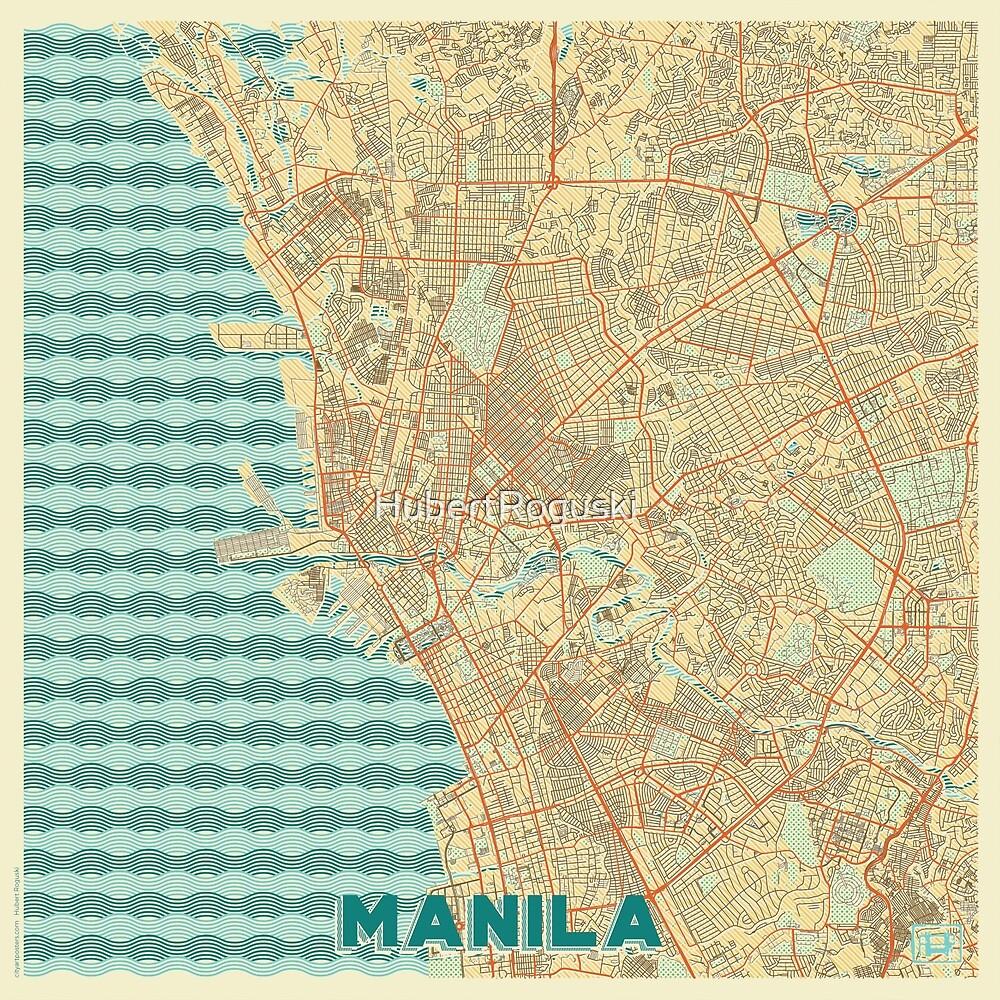 Manila Map Retro by HubertRoguski