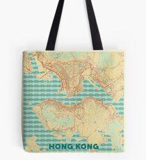 Hong Kong Map Retro Tote Bag