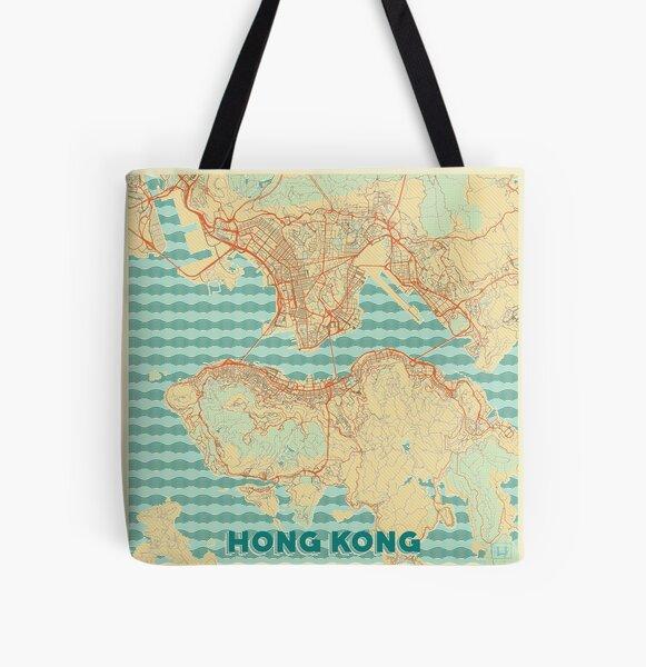 Hong Kong Map Retro All Over Print Tote Bag