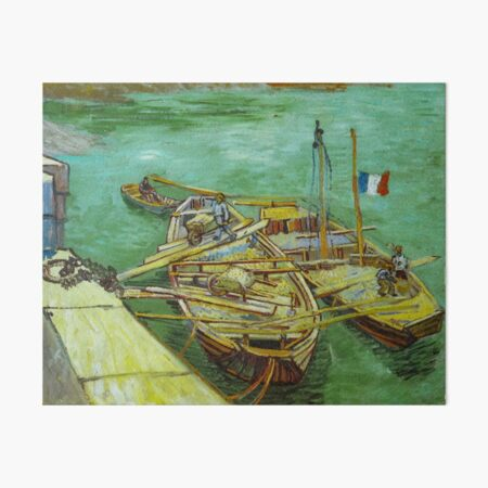 Barges on the Rhone River, 1888 by Vincent Van Gogh (Remastered) Boats loading in a river with france flag Art Board Print