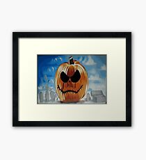 Halloween Pumpkin Graffiti Spraypainted Framed Print