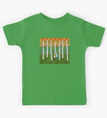 Cats - Forest - Birch Trees - Fall Kids Tee