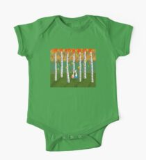 Cats - Forest - Birch Trees - Fall One Piece - Short Sleeve