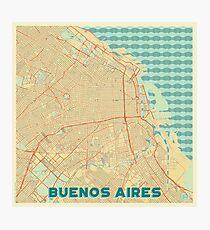 Buenos Aires Map Retro Photographic Print