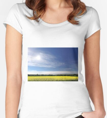 Sun Halo Over Canola Field Women's Fitted Scoop T-Shirt