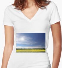 Sun Halo Over Canola Field Women's Fitted V-Neck T-Shirt