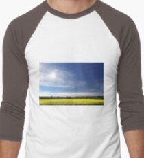 Sun Halo Over Canola Field Men's Baseball ¾ T-Shirt