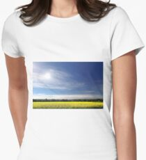 Sun Halo Over Canola Field Womens Fitted T-Shirt