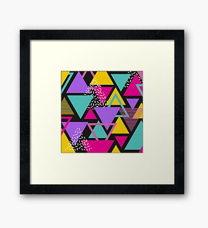 Memphis Triangles Framed Print