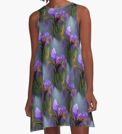 Wild Blue Flag Iris Flower Pattern A-Line Dress