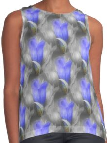 Blue Gentian Flower Pattern In Partial Color Contrast Tank