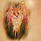 Fox in Wildflower Illustration by Monica Michelle