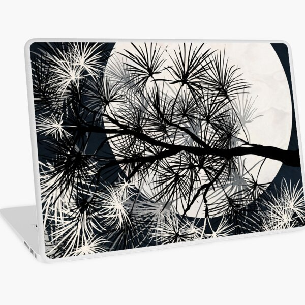 Pine Tree with Moon Graphic black and white Print Laptop Skin