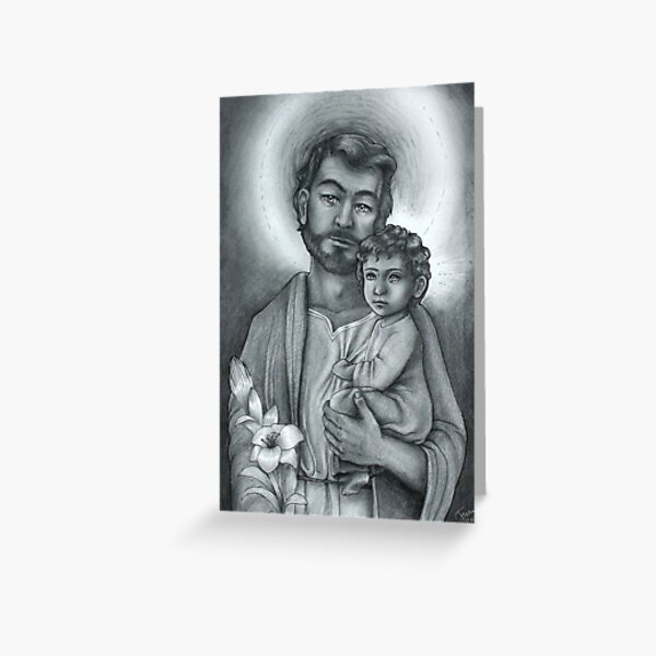 St Jospeh and baby Jesus Greeting Card