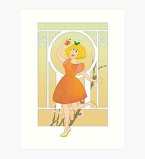 Art Nouveau Peach Girl Art Print
