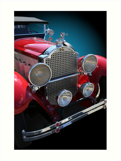 Studio Dalio - Vintage Red Touring Car Art Print
