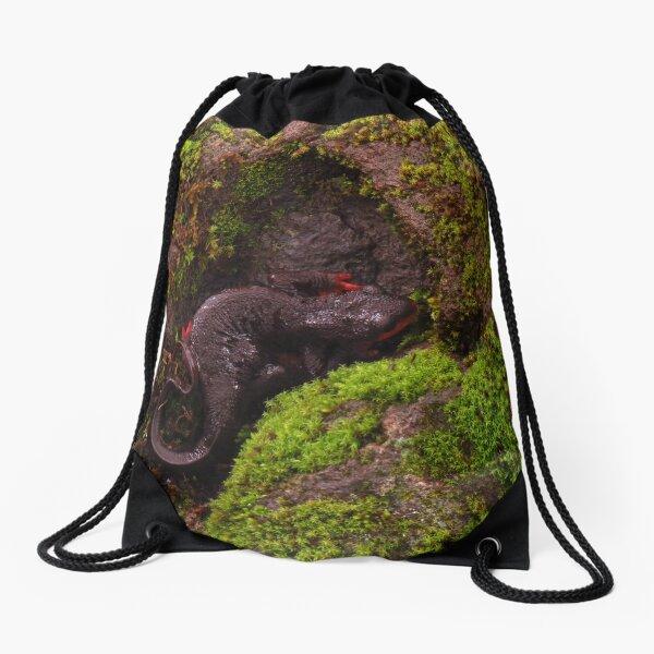 Western Orange-Bellied Newt on Moss Drawstring Bag