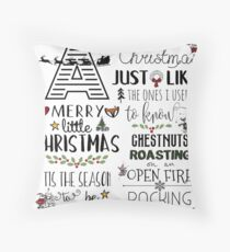 Christmas Lyrics Pattern Throw Pillow