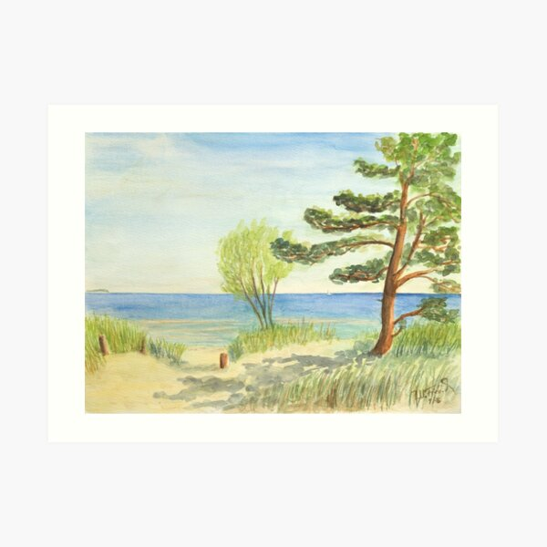 At the Baltic Sea beach on the dune Art Print