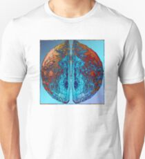 Vibrant Sphere with unique and eye catching ink pattern in blue and copper colors T-Shirt