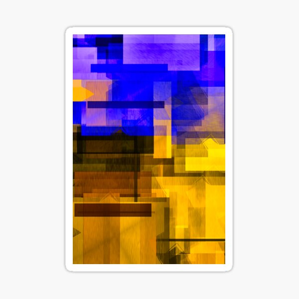 Copy of Contemporarily Abstract Yellow Navy Blue Pattern Sticker